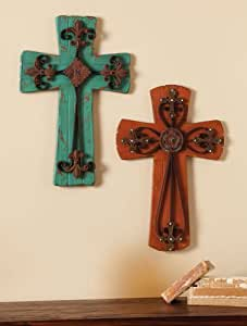 Wooden and metal crosses wall decor kitchen home Home decor wall crosses