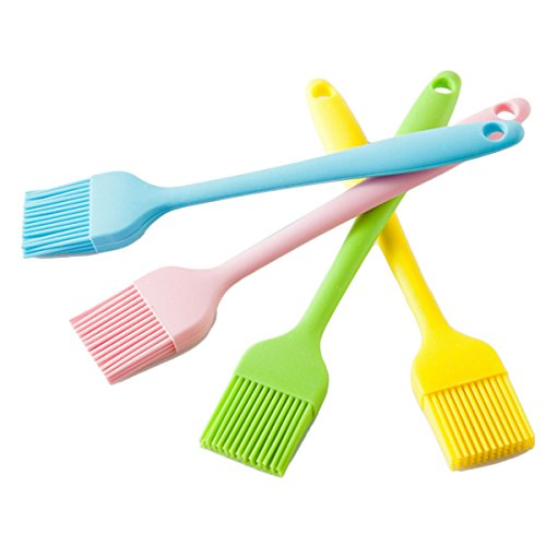 KAIL Set of 4 Silicone Pastry Basting Grill Barbecue Brush - Solid Core and Hygienic Solid Coating 8Inch Long