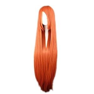 COSPLAZA Cosplay Costume Wigs 100cm long Straight Bleach INOUE ORIHIME Rurouni Kenshin Himura Kenshin hyacinth orange Anime Hair