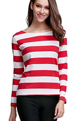 S-ZONE Womens Long Sleeve Stripe Pattern T-Shirt Loose Casual Tops, Red White Stripe, US XS-Tag size M
