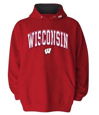 Buy NCAA Mens Wisconsin Badgers Hooded Sweatshirt (Red, Large) by Old Varsity Brand