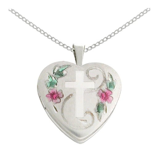 Sterling Silver Cross with Flowers and Leaves Heart Locket Pendant Necklace, 18