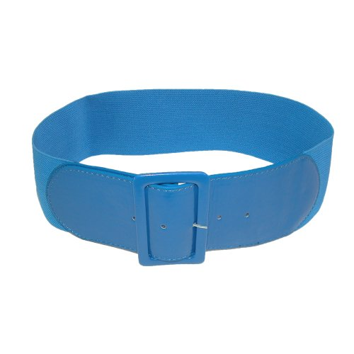 CTM® Womens Square Buckle Patent Stretch Belt, Small/Medium, Blue