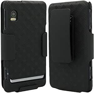 Superior Rubberized Hard Shell Case w/ Holster for Motorola DROID 2 A955