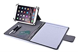 iCarryAlls 3-Ring Binder with Business Card Slots,Tablet Holder for 9.7 inch Tablet or iPad Mini,Blue+Black