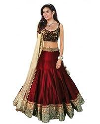 TexStile Womens Red Bhagalpuri Lehenga Choli