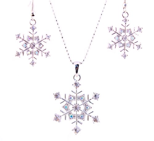 Silver Tone Cz Bridesmaid Snowflake Necklace with Earrings Set
