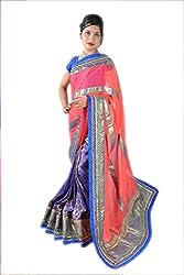 Aradhya Women's Velvet bordered Georgette Saree (multi_ara002)
