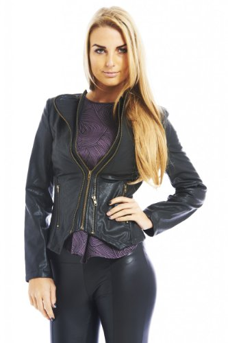 AX Paris Women's Faux Leather Zip Front Jacket(Black, Size:4)