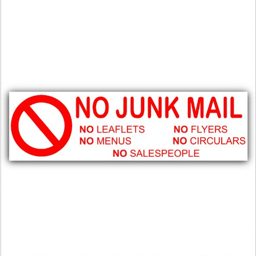 No Junk Mail,Leaflets,Menus,Flyers,Circulars,Salespeople - Letterbox Warning House Sticker-Self Adhesive Vinyl Door Notice Sign