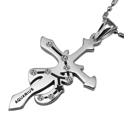 Opk Jewellery Fashion New Style Stainless Steel Necklace Aquarius Cross Pendants Crystal Inlaid Men's And Women's Lovely Necklets
