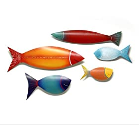 Friendly Fish (S/5)-Metal Wall Art