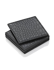 4 Mock Crocodile Skin Square Coasters