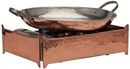 Sertodo Cooking Station setup with 15 inch Alicante Paella Pan and Stove Skirt, Hammered Copper