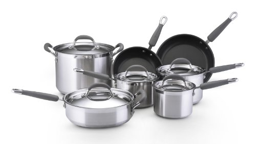 KitchenAid Gourmet Essentials Brushed Stainless Steel 12-Piece Cookware Set with Nonstick Skillets