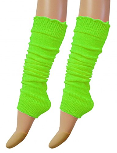 Ladies 80's Dance Plain Ribbed Leg Warmers, Neon Leg warmers 15 Colours (Green)