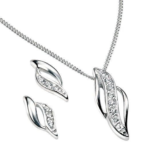 Elina H Silver Double Marquise CZ Pendant Jewellery Set