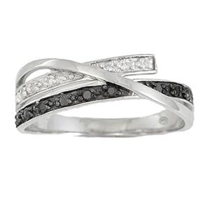 Bague Diamant noir - Or 375 Millièmes (9 Carats): 2.47 Gr - Diamant: 0.14 Carat qualité HSI