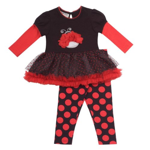 Rare Editions Baby-girls Ladybug Tutu Shirt & Leggings Set