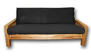 Sofabett Bifold, Futonbezuge Schwarz, 200x140x30 cm