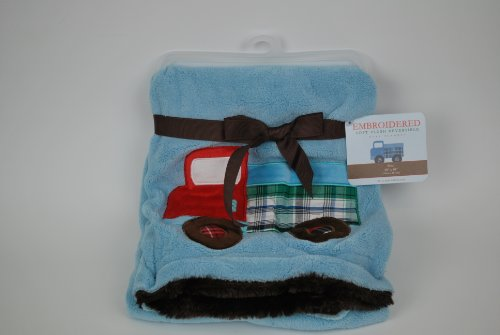 Embroidered Reversible Plush Dump Truck Baby Blanket - 1