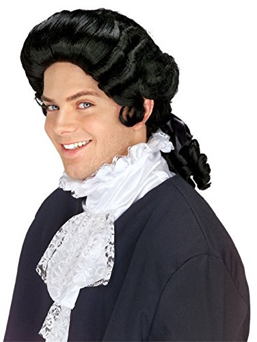 Mememall Black Colonial Wig Unisex Costume Barrister Franklin Men Costume Rb (Colonial Gown Costume)