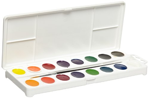 Sax True Flow 16-Color Oval Pan Watercolor Paint Set with Brush - Assorted Colors - 1