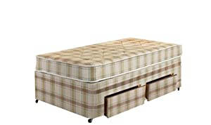 Interiors 2-Suit Oxford Small Single Bed with 2 Draws with Stich Bond Divans/ Mattress, 2.6 ft, 2-Piece, Beige/ Brown