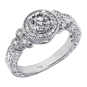14k White Gold Round Brilliant Cut Diamond Engagement Ring Vintage Style Split Shank Design (0.85 Carats, VS-2 Clarity, F Color) from ATR Jewelry