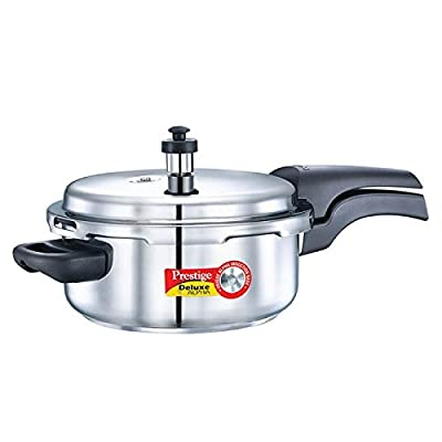Prestige Alpha PRSDA-3L Induction Base Stainless Steel Deluxe Pressure Cooker, 3 L/Small, Silver