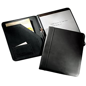 A4 European Writing Pad Holder in Black Leather: Genuine