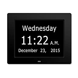 ESH Extra-Large Memory Loss Digital Calendar Day Clock with With Full Day & Month Spelling No Abbreviations Great For Impaired Vision (Black)
