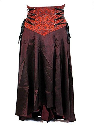 Plus-Size-Burgundy-Gothic-Steampunk-Jacquard-Corset-Ribbon-Asymmetry-Long-Skirt