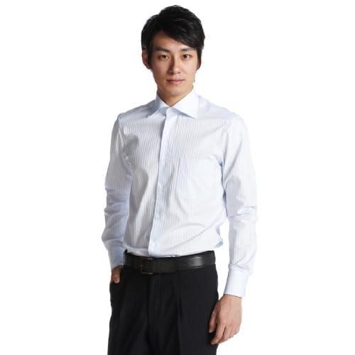 (フェアファクス)FAIRFAX サテンストライプムジセミワイドシャツ 5577 13 サックス 41