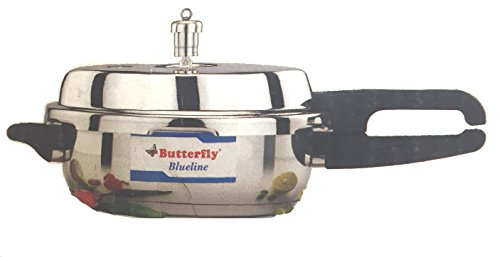 Butterfly Blue Line Wider Stainless Steel Pressure Cooker, 3.5-Liter (Indian Aluminum Pressure Cooker compare prices)