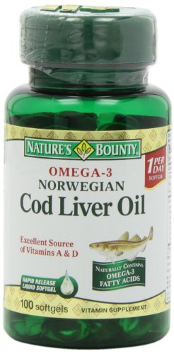 Nature's Bounty Omega-3 Norwegian Cod Liver Oil, 100 Softgels