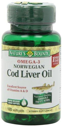 Nature'S Bounty Omega-3 Norwegian Cod Liver Oil, 100 Softgels (Pack Of 6)