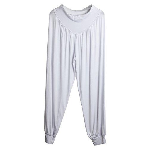 """Sidiou Group Nuovi Pantaloni di Harem per donne, pantacollant per Danza, Yoga, passeggiando - molto morbido """" (M, bianca)"""