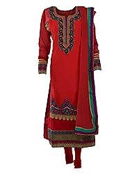 Vama Girl's Georgette Anarkali Suit (Orange & Red, 42)