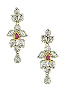 Amazon.com: Long Victorian CZ Earrings with Ruby Pear Stones: Jewelry