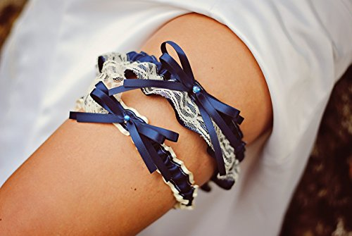 Vintage Ivory Lace & Navy Blue Satin Rhinestone Embellished Wedding Bridal Keepsake Or Garter SET