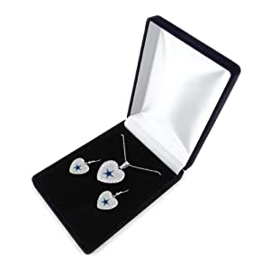 NFL Steelers Reversible Crystal Heart Pendant and Earrings in Satin Box