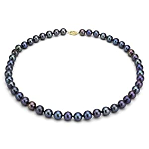 14KY 6.5-7mm Black Freshwater Cultured Pearl High Luster Necklace 18