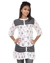Rajrang Cotton Black, White Screen Printed Tunic Top Size: S
