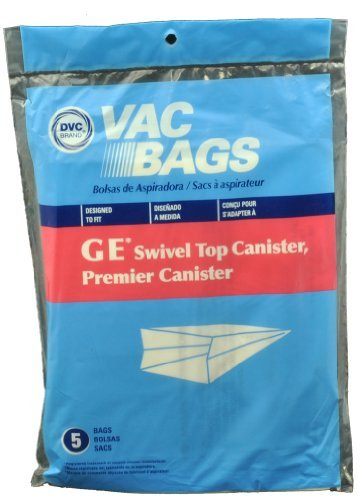 GE Swivel Top Canister Vacuum Cleaner Bags, DVC Replacement Brand, designed to fit GE, Premier & Whirlwind Swivel Top Canister Vacuum Cleaners, 5 bags in pack (Dvc Vacuum Cleaner Bags compare prices)