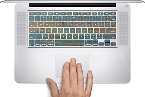 Wood with Blue on Wooden Old Vintage Background Macbook Keyboard Decals (Fits 11 inch Air) by Moonlight Printing