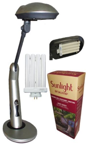 Sunlight Desk Lamp Natural Full Spectrum Sun Light. Simulates Daylight. 150Watt Output uses 27 Watts. Touch On/Off Switch.