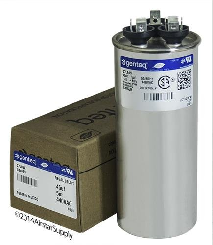 Jard 12788 - 45 + 5 uF MFD x 440 VAC Genteq Replacement Dual Capacitor Round # C4455R / 27L889