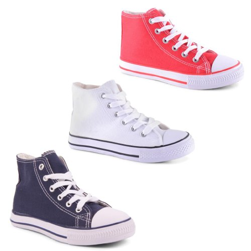 New Boys Girls Kids Juniors Comfy Lace Up Hi Top Trainers Shoes