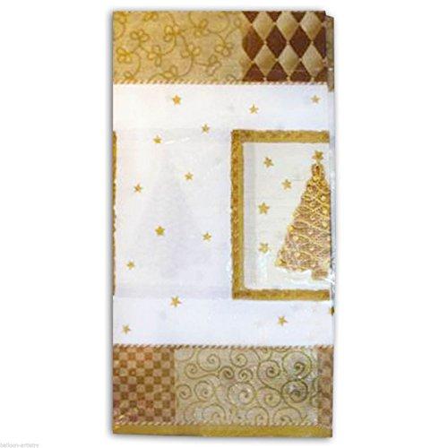 1 Nappe de noël en papier 259x137 cm environ - Blanc et doré